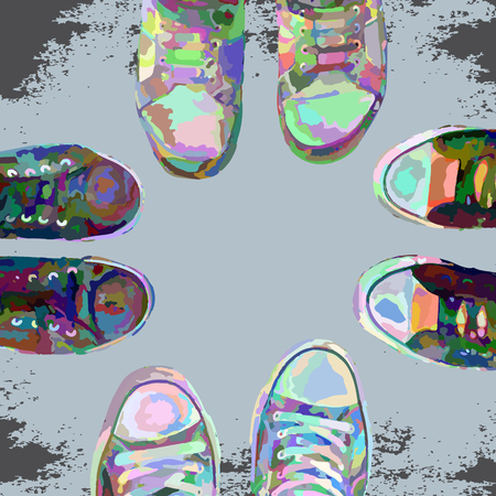 Abstract cartoon sneakers on grunge background. Top view. Vector design. Иллюстрация