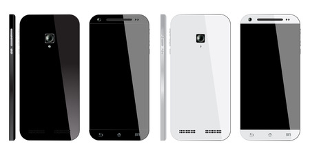 in the back: Realistic black and white Smartphone with blank screen, isolated on white background. Front, Back and Side view. Mockup design.