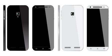 espalda: Smartphone blanco y negro realista con la pantalla en blanco, aislado sobre fondo blanco. Frente, Vista posterior y lateral. Maqueta de dise�o. Vectores
