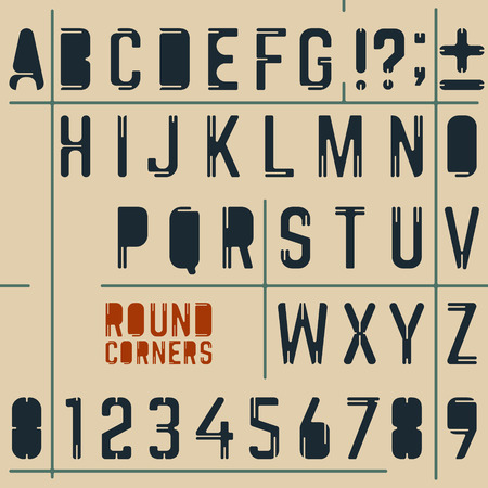 Abstract Alphabet and Numbers. Round Corners Design.