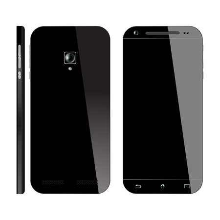 front and back: Realistic black Smartphone with blank screen, isolated on white background. Front, Back and Side view. Mockup design. Illustration