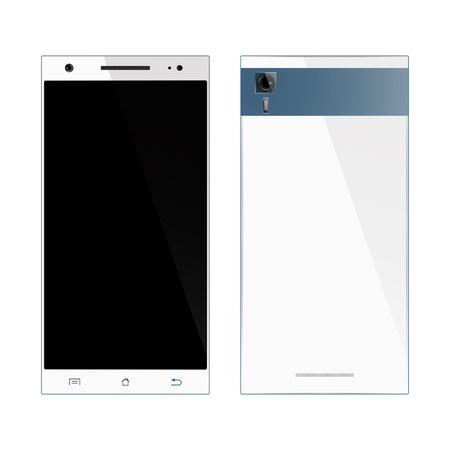 front and back: Smartphone. Realistic Mock-up Smartphone design. Mobile Phone Front, Back view, isolated on white background.