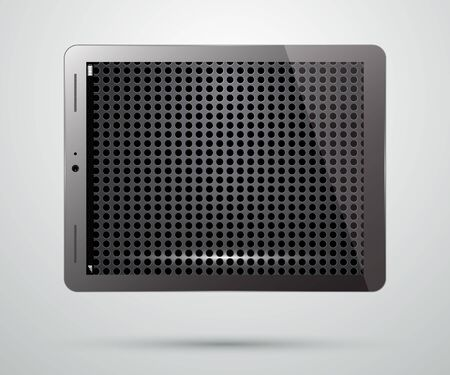 saver: Tablet PC Computer with Metallic Perforated Screen Saver. Realistic Modern Isolated Mobile Pad.