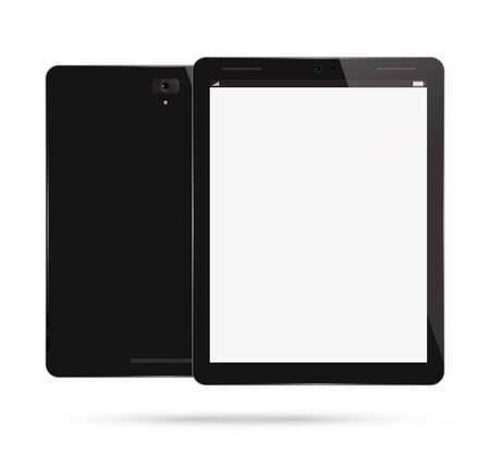 Tablet PC Computer. Realistic Modern Mobile Pad. Front, Back View. Isolated on White Background.