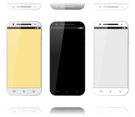 Mobile phone smartphone set. Mockups design. Smart phone isolated with blank screen on white background. Vector illustration.