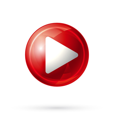 red button: Play Icon. Red Play Button on white background. Vector illustration. Illustration