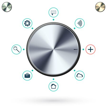 metallic button: Metallic Button on white background. Knob with Various Social Media icons. Vector illustration.