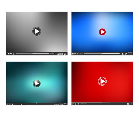 windows media video: Video Player interface. Online Player template. Player isolated on white background. Vector illustration.