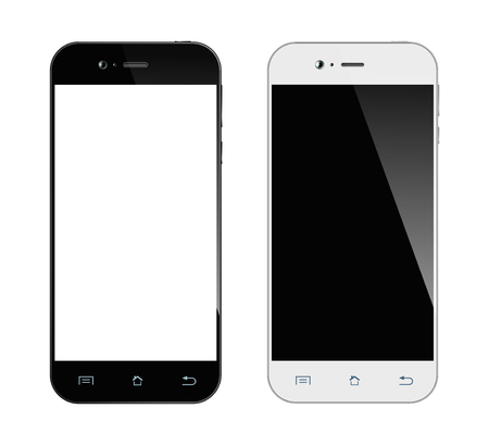 Realistic black and white smartphone. Mobile phone isolated on white background. Vector design smart phones. Çizim