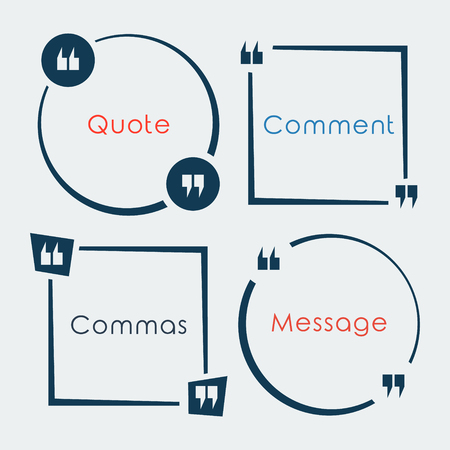 Set of Quote Box and Bubble. Quote Commas Note Message elements. Vector design. Illustration