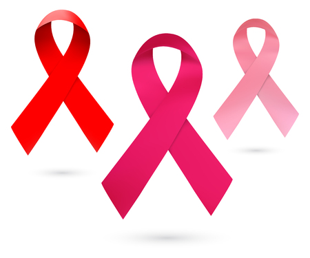 cancer ribbon: Pink ribbon breast cancer awareness. Realistic Ribbons isolated on white background. Vector illustration.