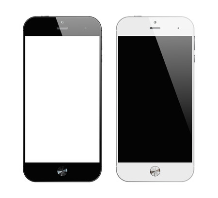 Realistic black and white smartphone. Mobile phone isolated on white background. Vector design smart phones. Ilustracja