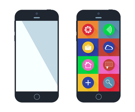 mobile app: Smartphone with app icons. Mobile phone flat design. Smart phones vector illustration.