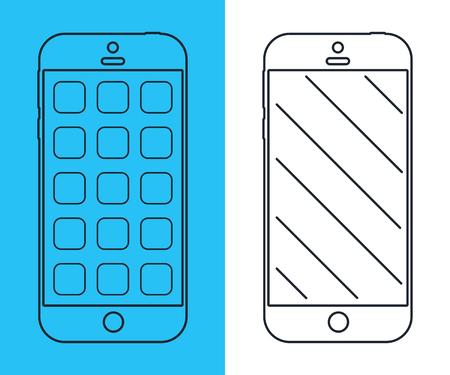 scrollbar: Smartphones. Mobile phone thin line design. Smart phones vector illustration.