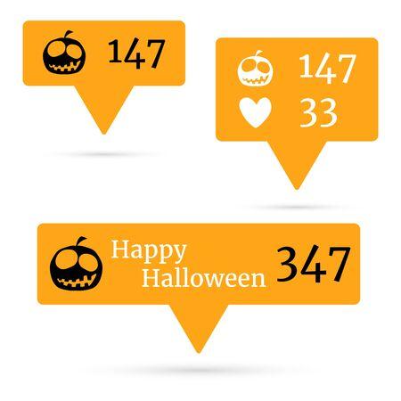 follower: Happy Halloween Like Follower icons. Vector illustration.