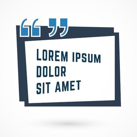 Quote Box Bubble. Quote Commas Note Message design. Vector illustration.