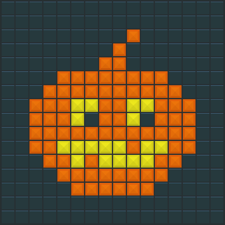 tetris: Halloween Pumpkin. Old Game design. Vector illustration