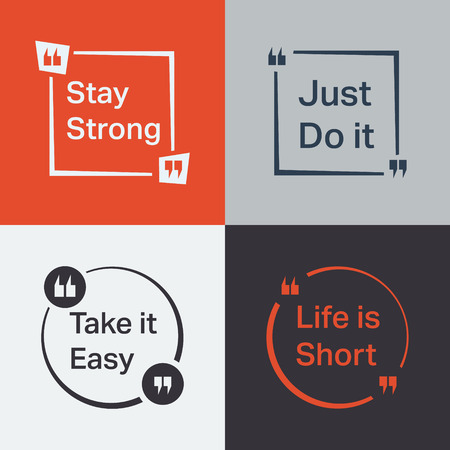 cite: Quote set. Quote Bubble with various slogan. Vector illustration.