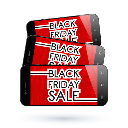 holiday profits: Black Friday Sale. Black Smart phone isolated. Vector illustration