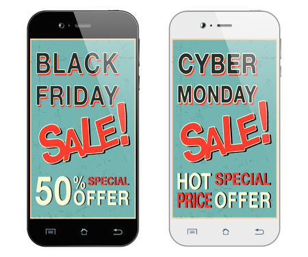 Black friday sale. Cyber monday sale. Black and white smartphones.  Mobile phone isolated. Vector illustration Иллюстрация