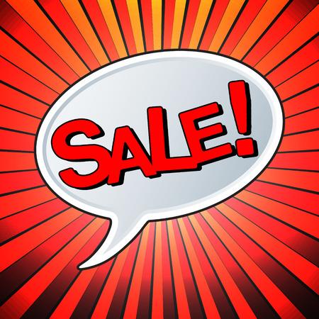 stock price quote: Text bubble Sale. Speech bubble retro comic style. Pop art vector illustration.