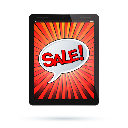 holiday profits: Tablet sale design. Black Tablet PC Pad. Vector illustration.