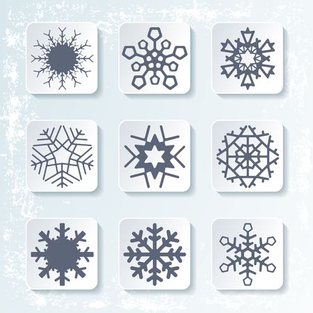 rime: Set of 9 various snowflake winter icons. Silhouette design. Rime background. Vector illustration. Illustration