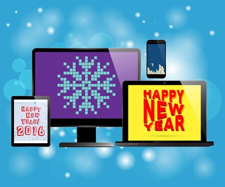 screen savers: Monitor computer laptop smartphone tablet with various screen savers. New Year theme. Background with abstract snowflakes. Realistic vector design.