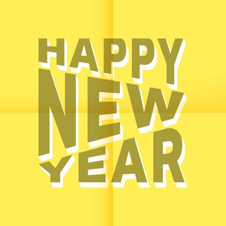 stick note: Happy New Year 3d text on yellow stick note. Vector illustration.