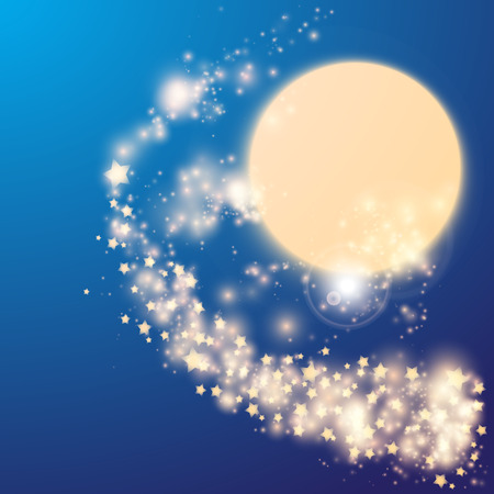 Abstract Background with Sun and Milky Way. Glowing Lights for Brochures, Flyers, Posters, Greeting Cards. Vector illustration.