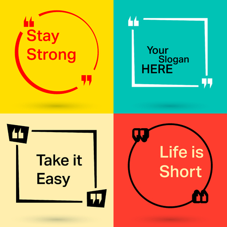 cite: Speech box and bubble set. Quote square with various slogan. Vector illustration. Stock Photo