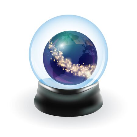 sphere base: Snow globe template. Earth and stars. Vector illustration