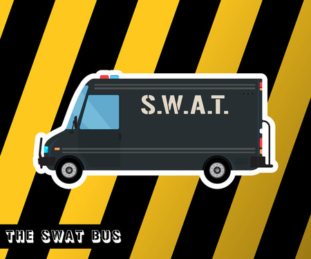 squad: Swat truck isolated. Police bus. Special squad vehicle. Vector illustration Illustration