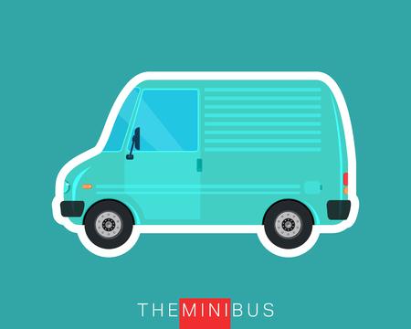 minibus: Freight car, delivery bus. Colored mini van. Commercial vehicle minibus. Vector illustration