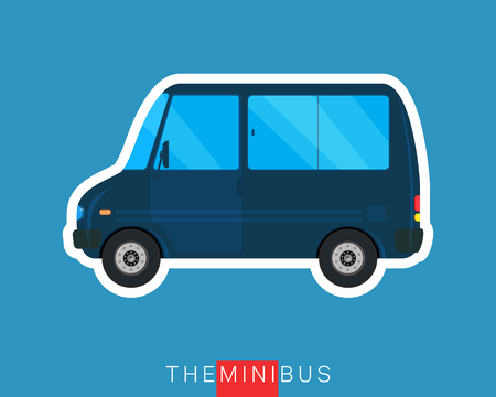 mini van: Blue passenger mini van. Colored minibus. Commercial vehicle. Vector illustration