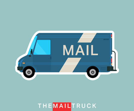 mail truck: Mail truck isolated. Delivery van. Service vehicle bus. Vector illustration