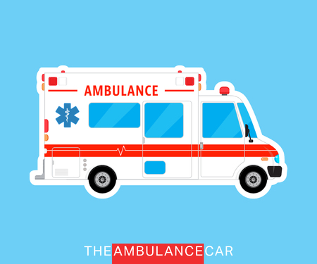 mini bus: Ambulance car isolated. Medical help bus. Special service vehicle. Vector illustration