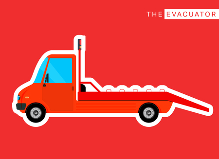 roadside assistance: Roadside assistance evacuator truck. Freight delivery bus. Commercial vehicle. Vector illustration