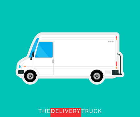 mini bus: White delivery truck isolated. Delivery van. Service vehicle bus. Commercial delivery cargo truck. Vector illustration