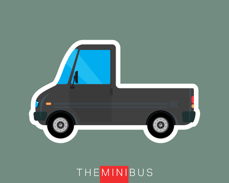 mini bus: Pickup bus, freight bus, delivery bus. Colored mini van. Commercial vehicle minibus. Vector illustration Illustration