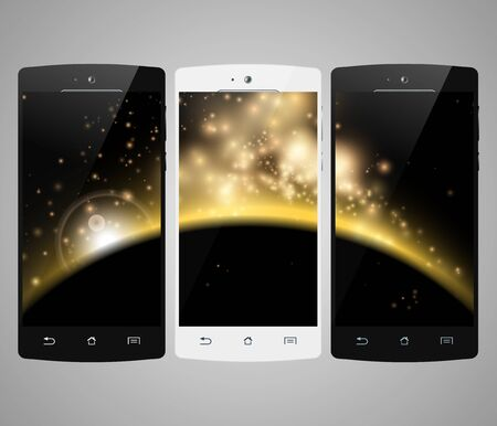 screen savers: Smartphones set. Smart phone isolated with abstract screen savers. Mobile phone realistic design. Vector illustration.