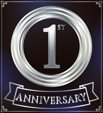 silver ring: Anniversary silver ring logo number 1. Anniversary card with ribbon. Blue background. Vector illustration. Illustration
