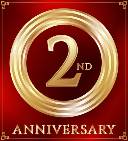 gold ring: Anniversary gold ring logo number 2. Anniversary card. Red background. Vector illustration.