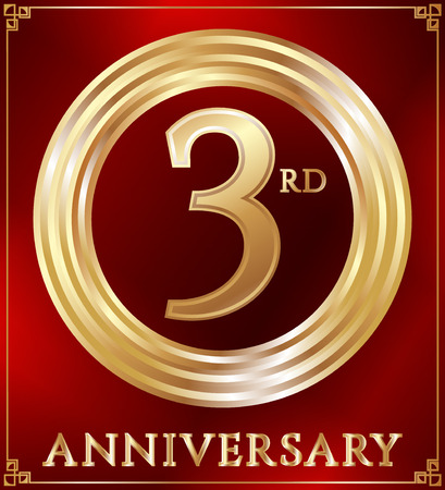 gold ring: Anniversary gold ring logo number 3. Anniversary card. Red background. Vector illustration.