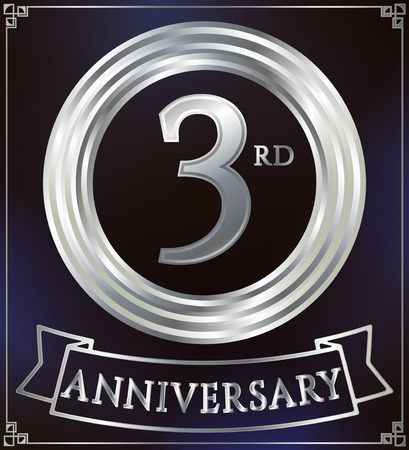 silver anniversary: Anniversary silver ring logo number 3. Anniversary card with ribbon. Blue background. Vector illustration.