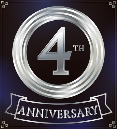 silver ring: Anniversary silver ring logo number 4. Anniversary card with ribbon. Blue background. Vector illustration.