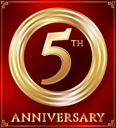 gold ring: Anniversary gold ring logo number 5. Anniversary card. Red background. Vector illustration.