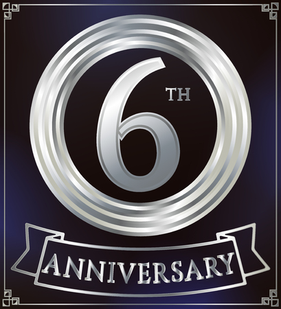 silver ring: Anniversary silver ring logo number 6. Anniversary card with ribbon. Blue background. Vector illustration.