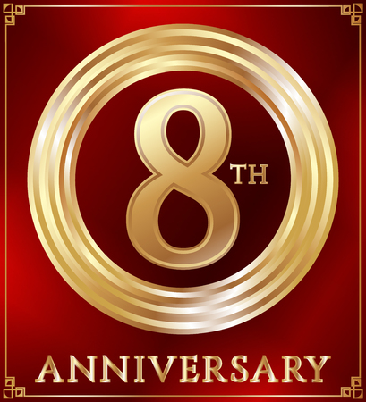 gold ring: Anniversary gold ring logo number 8. Anniversary card. Red background. Vector illustration. Illustration