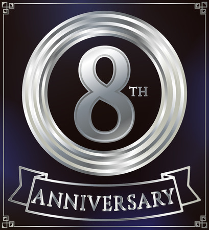 silver ring: Anniversary silver ring logo number 8. Anniversary card with ribbon. Blue background. Vector illustration.
